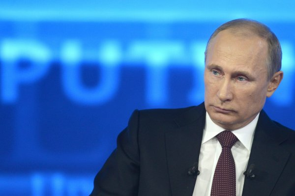 Vladimir Putin during the nationwide phone-in in Moscow. Photograph: RIA Novosti/Reuters
