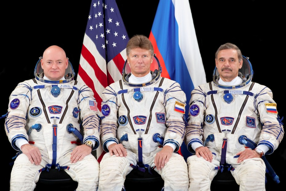 The prime crew members for ISS Expedition 43.  L-R: Flight Engineers Scott Kelly of NASA, Gennady Padalka and Mikhail Kornienko of Roscosmos. Kelly and Kornienko will be spending an entire year in space on board the ISS. Image: Roscosmos/GCTC