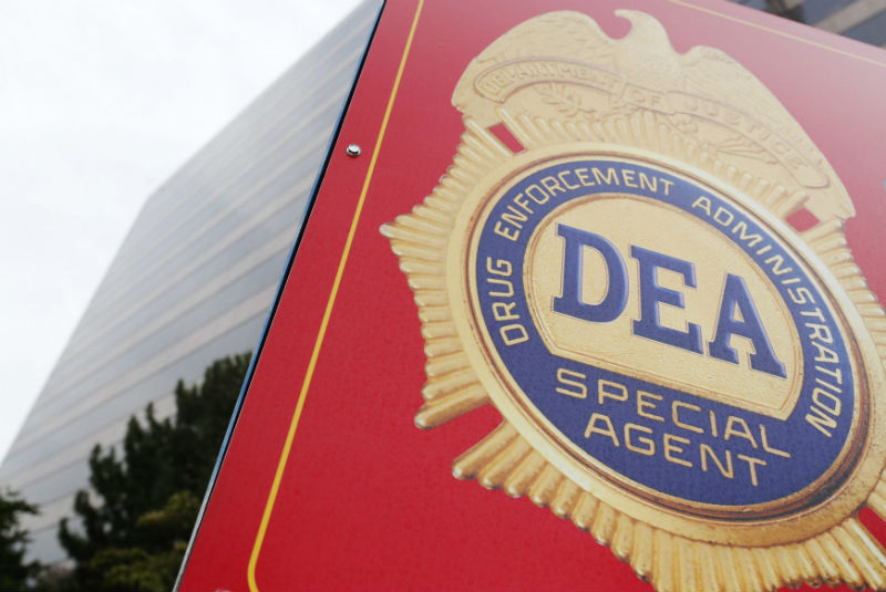 A sign with a DEA badge marks the entrance to the U.S. Drug Enforcement Administration (DEA) Museum in Arlington. (Jonathan Ernst/REUTERS)