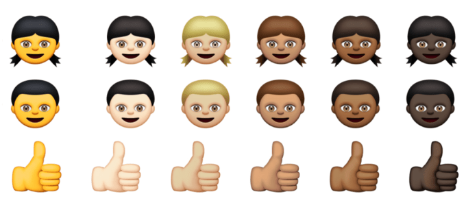 A preview of the new emoji set available to iOS users who have upgraded to iOS 8.3. More skin tones! No tacos.