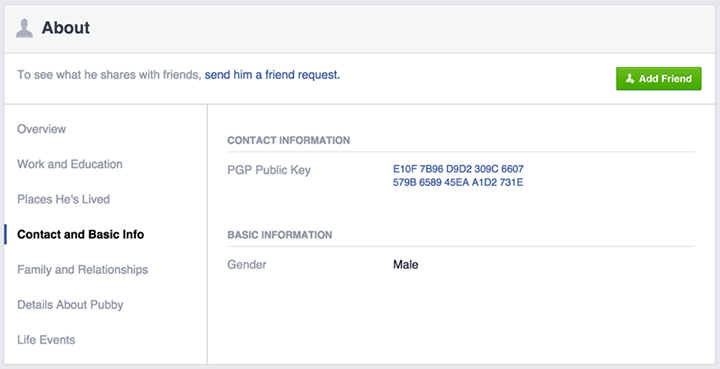 A sample display of the new encryption feature offered to users by Facebook.