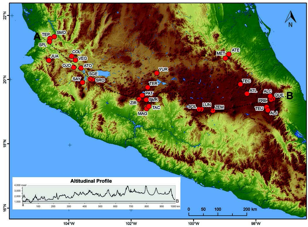6902  3 Sigala Map with the location of the 30 lakes studied along the Trans Mexican  Volcanic Belt  central Mexico  Abbreviations correspond to those in Table 1