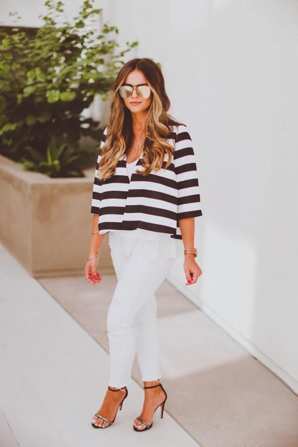 #OOTD // Striped Swing Jacket & White Skinnies | BondGirlGlam.com
