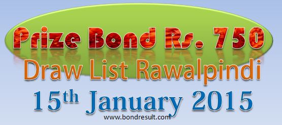 750 Prize Bond Draw Result / List today 15th jan 2015