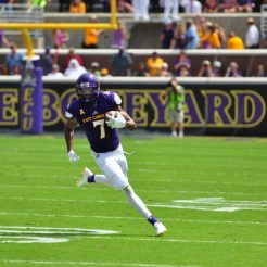 Standout wide receiver Zay Jones works for yardage after a catch. (WA Myatt photo)