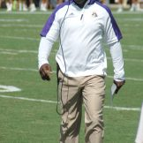 Coach Scottie Montgomery patrols the sideline on Saturday