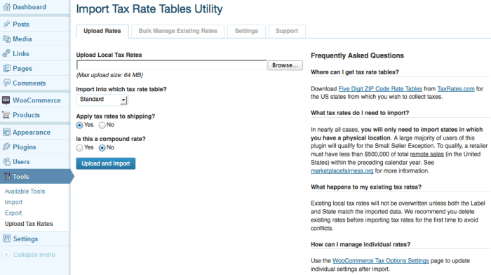 Upload your tax rates with several helpful options