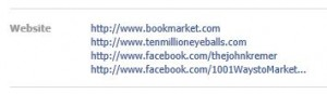 Facebook website listings