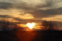 Heart Shape in Clouds with Sun Shining Free Use