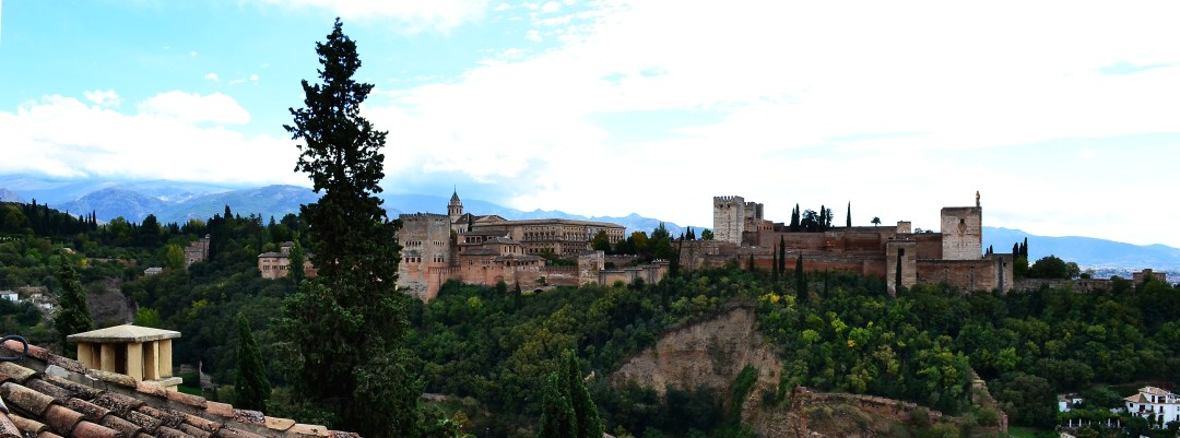 Alhambra view from St Nicholas in Granada Spain