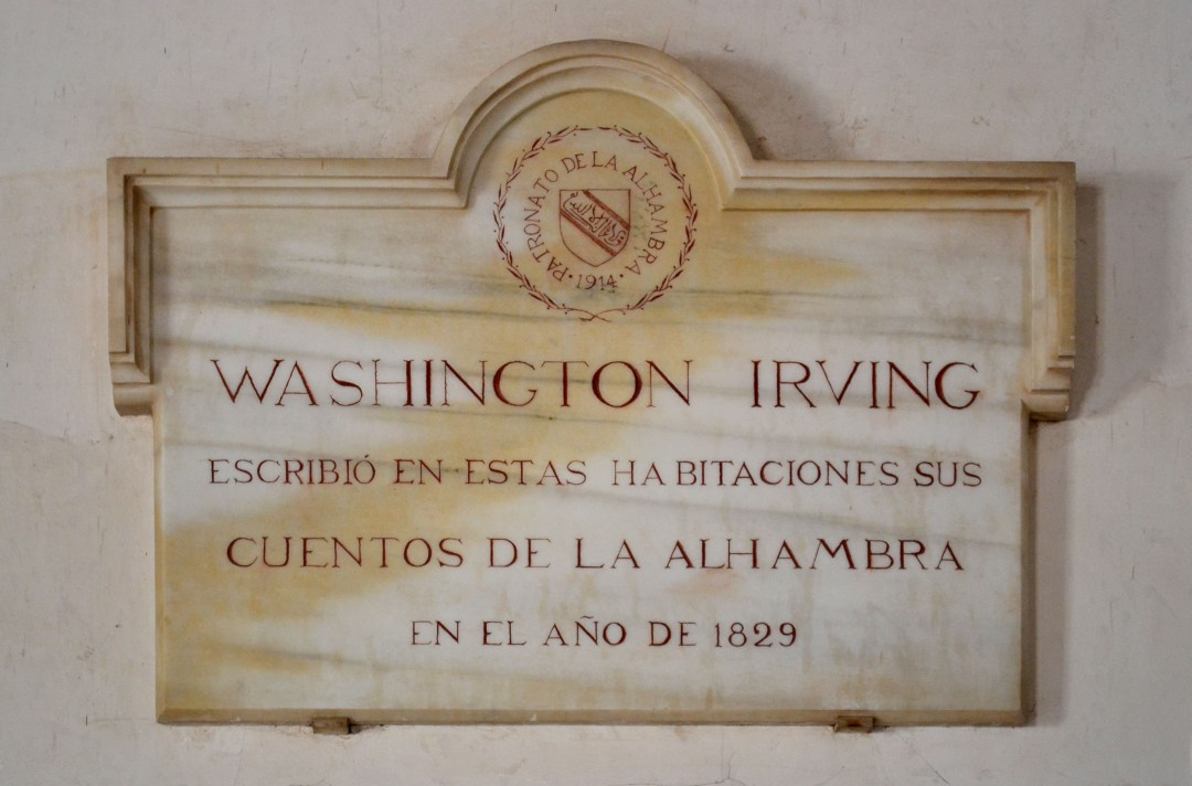 Washington Irving plaque at the Alhambra World Heritage Site