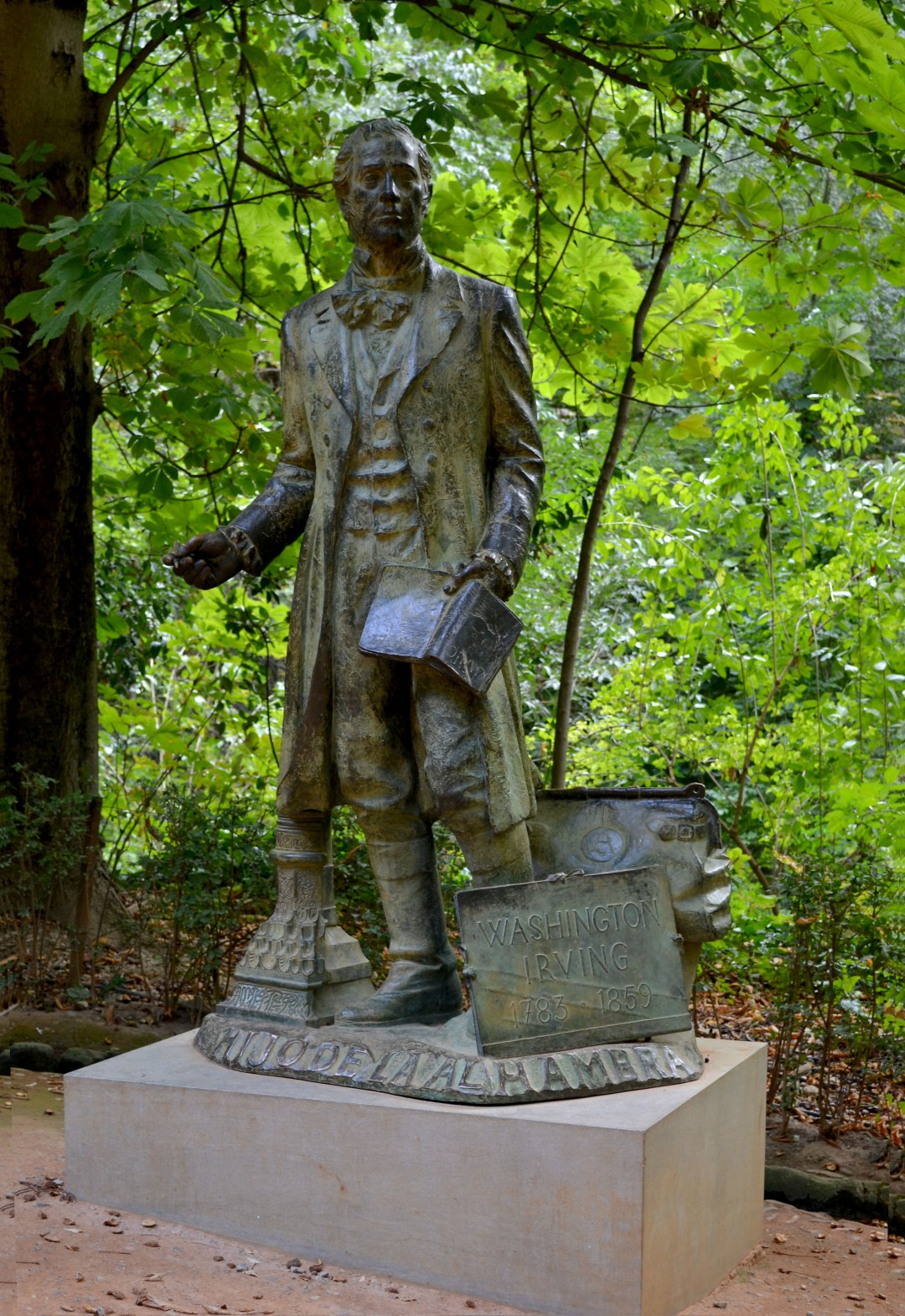 Washington Irving statue in the World Heritage Alhambra Woods in Granada Spain