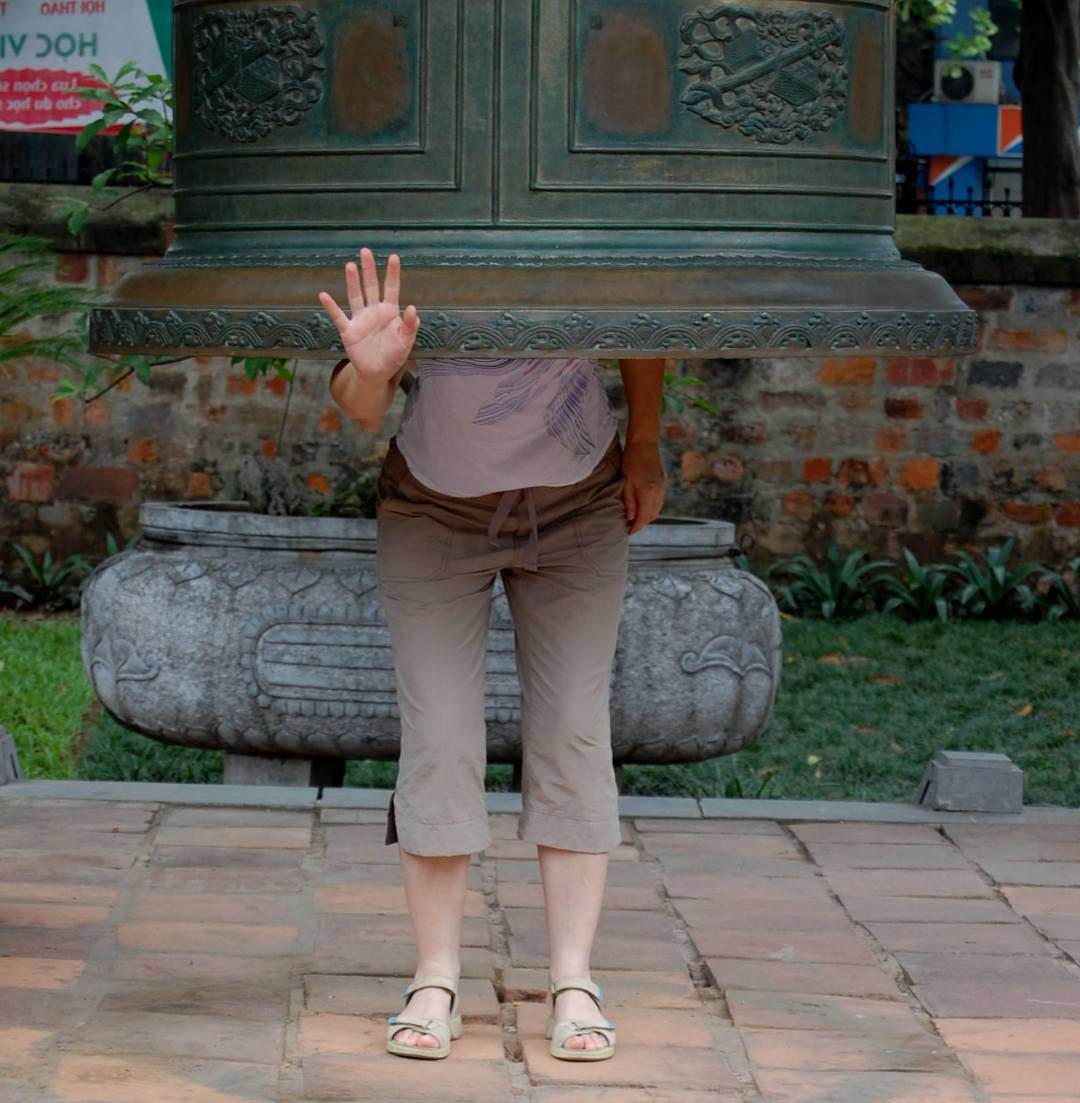 Bell in the Temple of Literature in Hanoi in Vietnam
