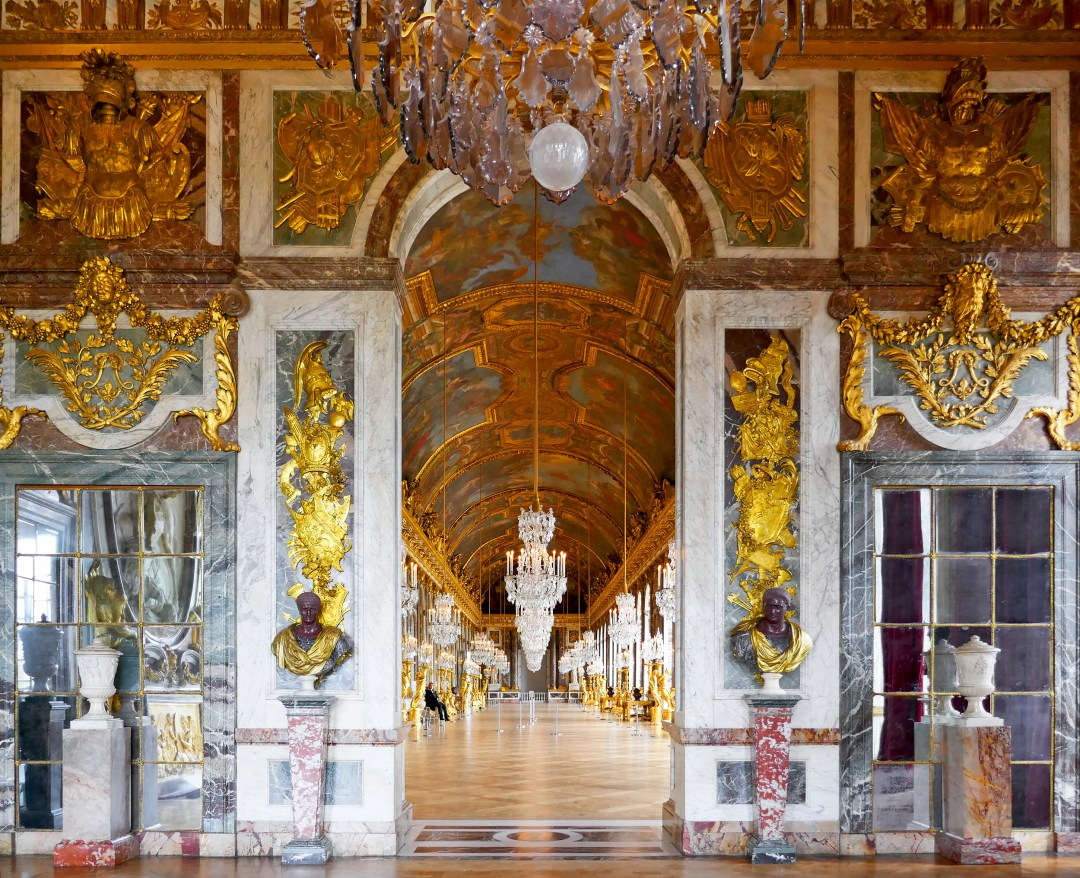 Grand entrance to the Hall of Mirrors in the Palace of Versailles