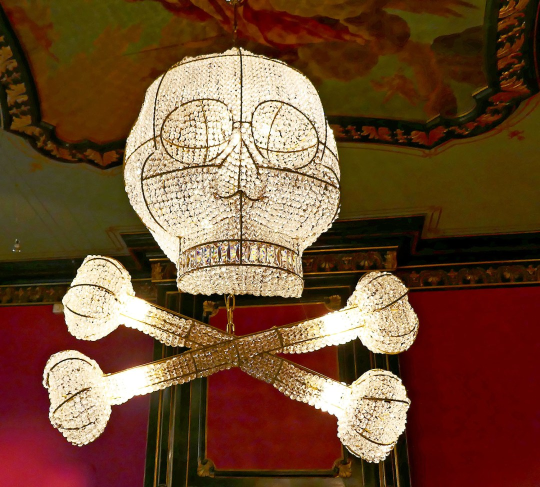 Skull and crossbones chandelier