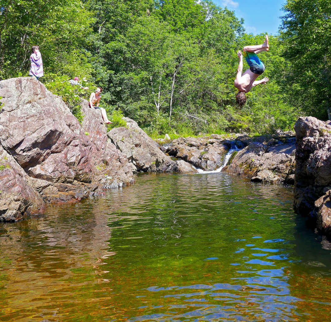 Swimming at Malignant Cove in Antigonish County