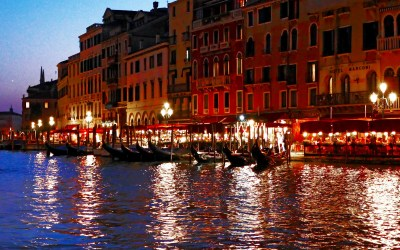Venice canal at night with boomervoice.ca
