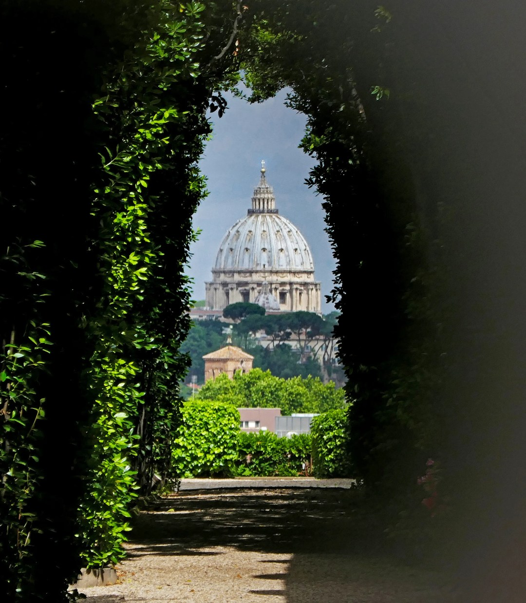 Keyhole view of St Peter's from the Order of Malta in Rome