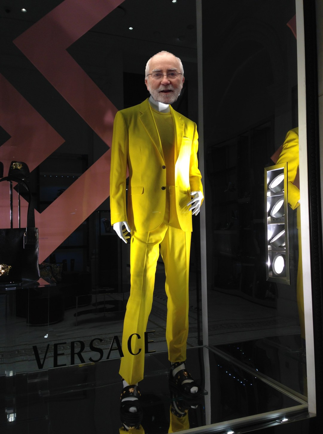 Burke photoshopped into Versace window on Fifth Avenue in New York