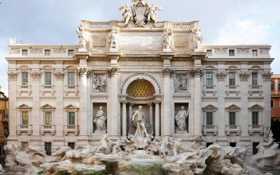 Trevi fountain in the morning in Rome