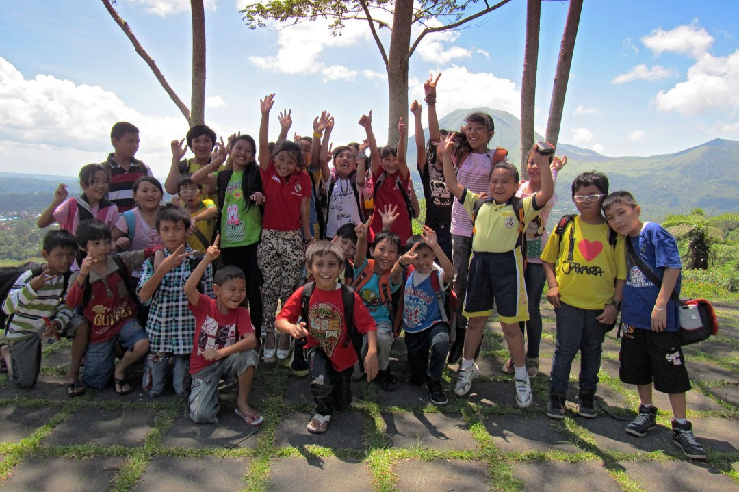 Indonesian kids on a school trip in North Sulawesi