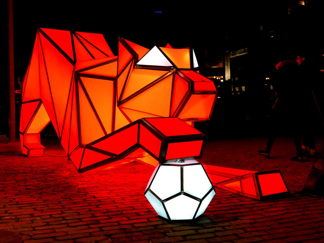 Cat and Ball at Toronto Light Festival for boomervoice
