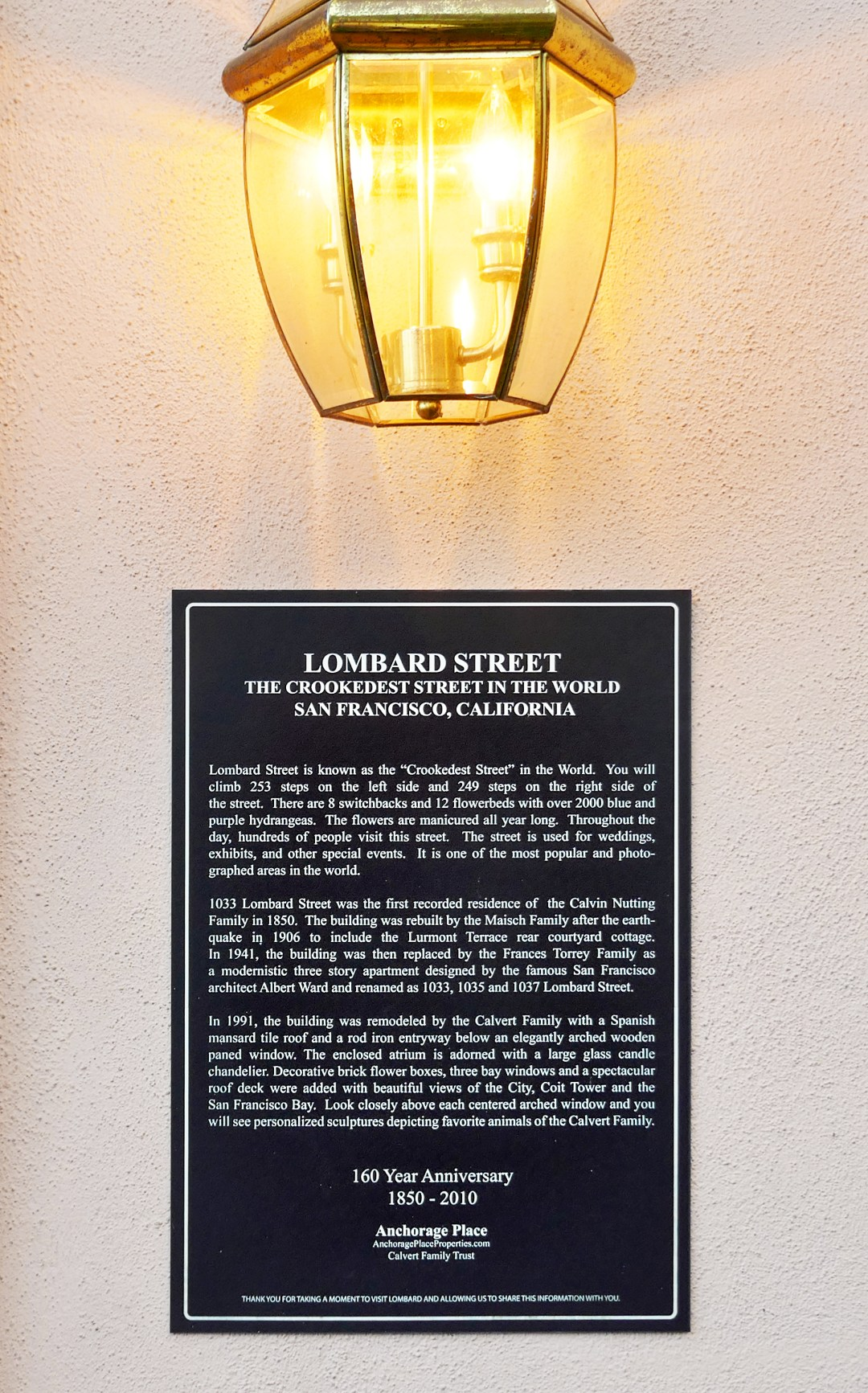 Lombard Street house plaque