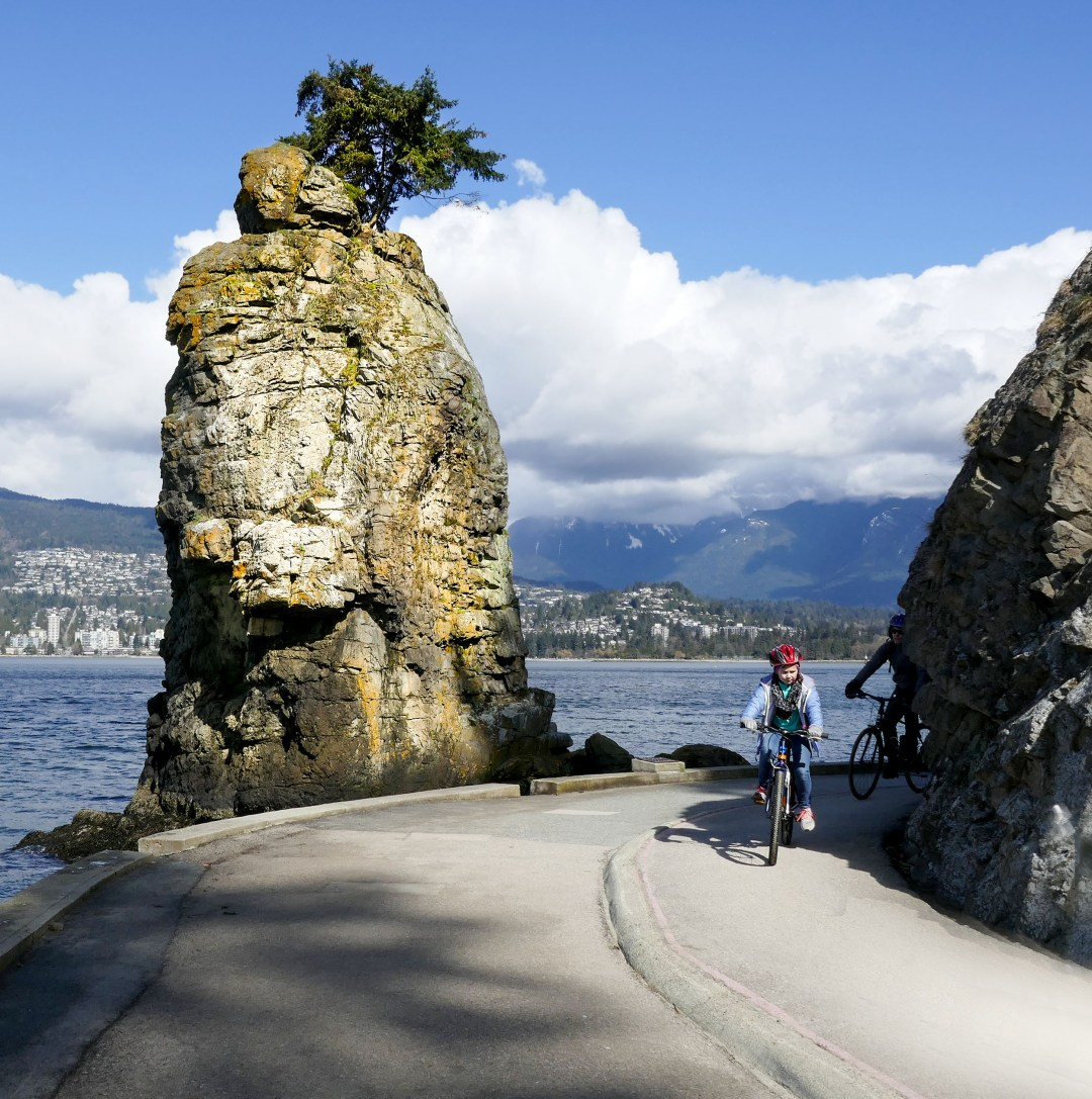 Biking past Siwash Rock in Stanley Park for boomervoice
