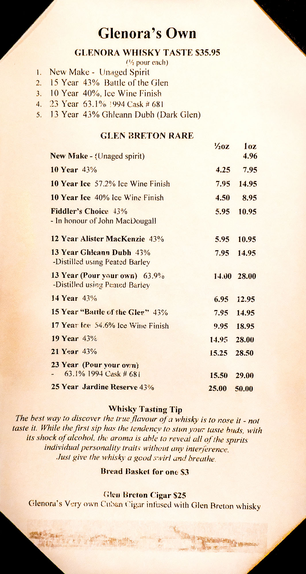 Glenora whisky menu for boomervoice