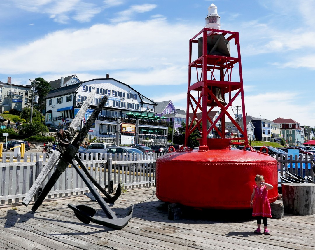 Anchor and little girl in Lunenburg for boomervoice