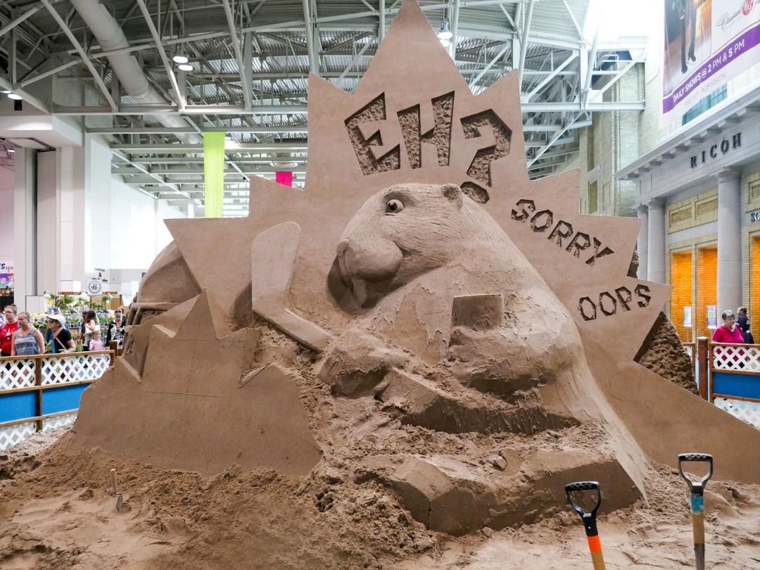 Beaver sand sculpture at CNE for bomervoice