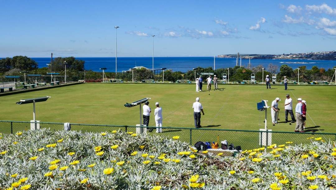 Coogee Lawn bowling club on Coogee to Bondi walk for boomervoice