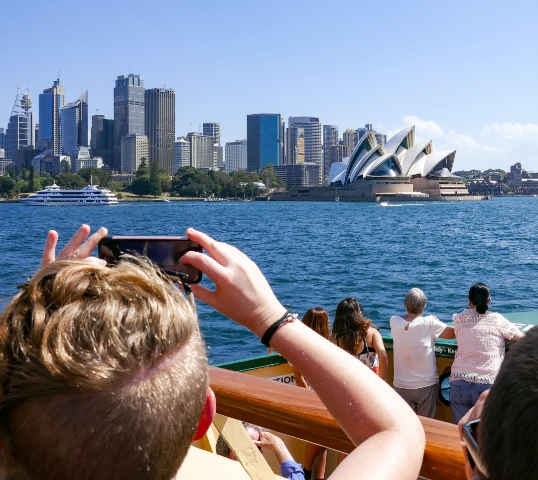 View of Sydney Opera House from ferry for boomervoice