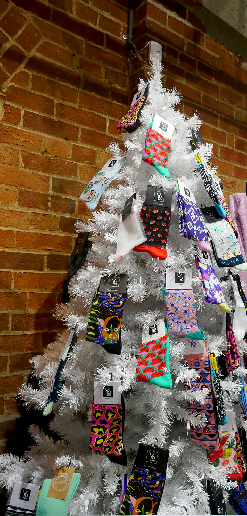 Sock tree at the Toronto Christmas Market for boomervoice
