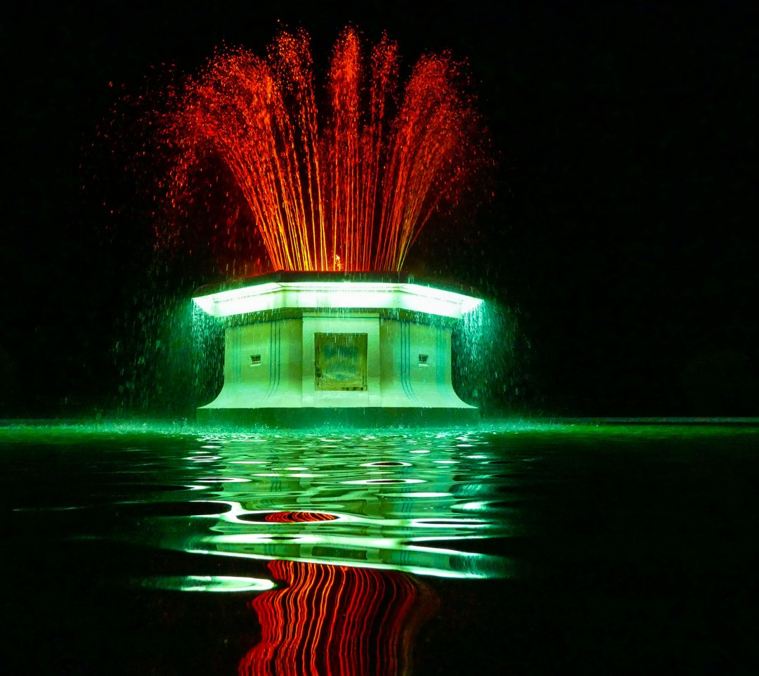 Oceanside Art Deco Fountain at night in Napier New Zealand for boomervoice