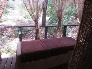 The creekside porch off of my bedroom provided the perfect setting for a massage and facial.