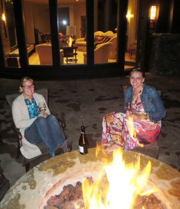 After a day of fun, can anything beat sharing a bottle of wine with your gal pals around a firepit on the balcony of the amazing vacation home you've rented?