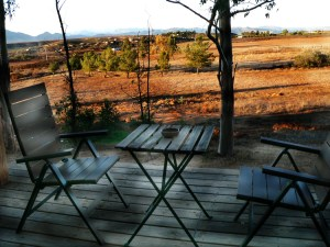 My deck at Casa Mayoral, looking out over the valley on an autumn day.