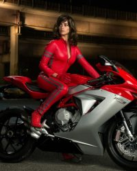 Hot-Girl-Red-Latext-Dress-on-Sexy-Sports-Bike-Wallpaper-1024x768