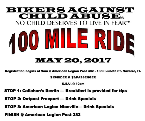Bikers Against Child Abuse 100-Mile Ride