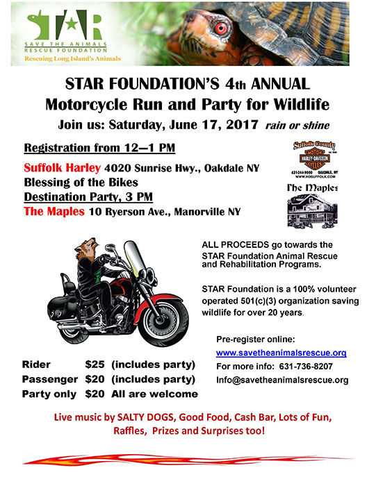 STAR FOUNDATION'S 4th ANNUAL Motorcycle Run and Party for Wildlife