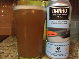 Danko Double Dry Hopped Rye Ale poured into a nonic pint glass.