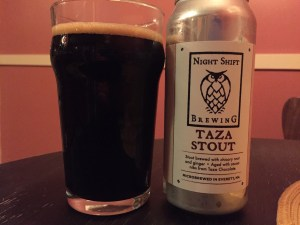 Night Shift Taza Stout poured into a nonic pint glass.