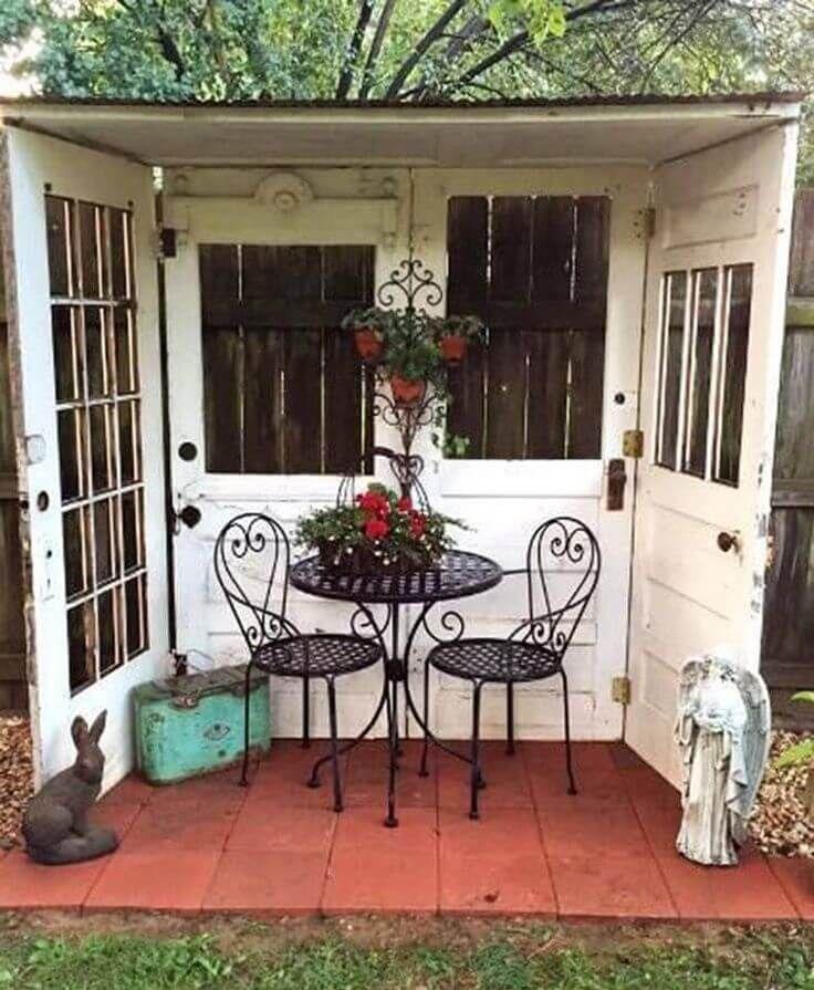 Beautiful Little Garden Nook Made From Old Doors