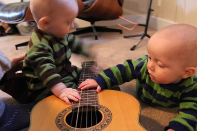 Twins Playing Guitar