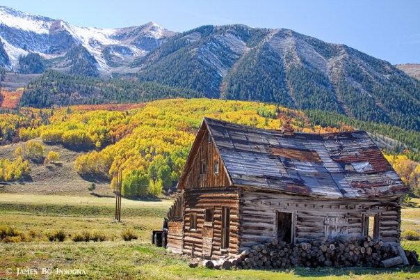 Rustic Rural Colorado Cabin Autumn Landscape