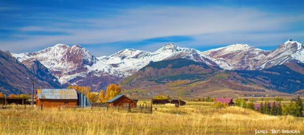 Colorful Crested Butte Colorado Autumn Landscape Panorama