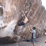 Shameless plug – me on Left El Murray, Hueco Tanks V7 SDS