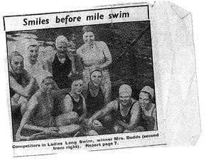 Vintage photo of swimmers before the race