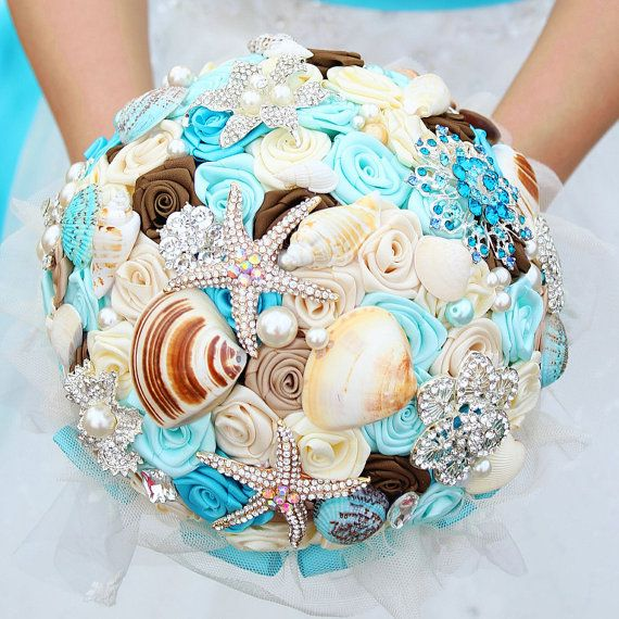 Brooch and Seashell Bouquet